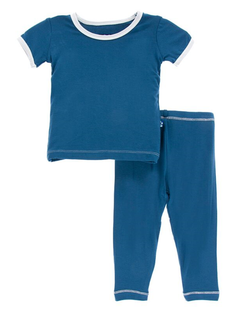 Kickee Pants Solid Short Sleeve Pajama Set with Pants - Twilight with Natural