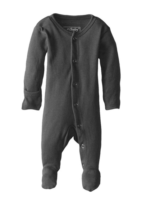 L'ovedbaby 100% Organic Cotton Footed Overall - Gray