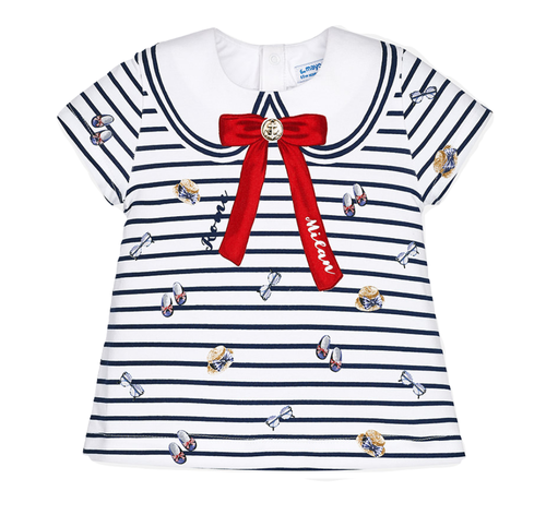 Mayoral Baby Girls Striped T-Shirt - Navy Blue