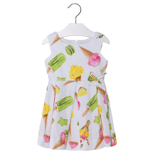 Mayoral Girls Ice Cream Satin Dress - Green