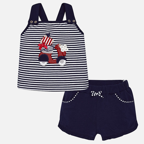 Mayoral Baby Girls Motorcycle Shirt and Shorts Set - Navy