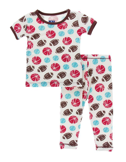 Kickee Pants Print Short Sleeve Pajama Set with Pants - Natural Sports