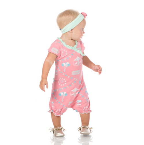 Kickee Pants Print Ruffle Romper - Strawberry Carnival