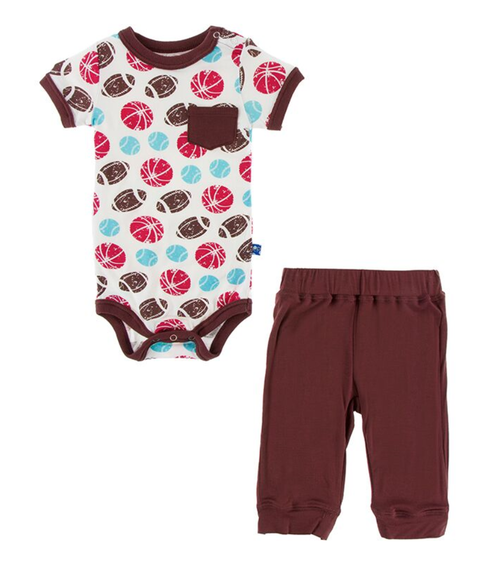 Kickee Pants Print Pocket One Piece and Pant Outfit Set - Natural Sports