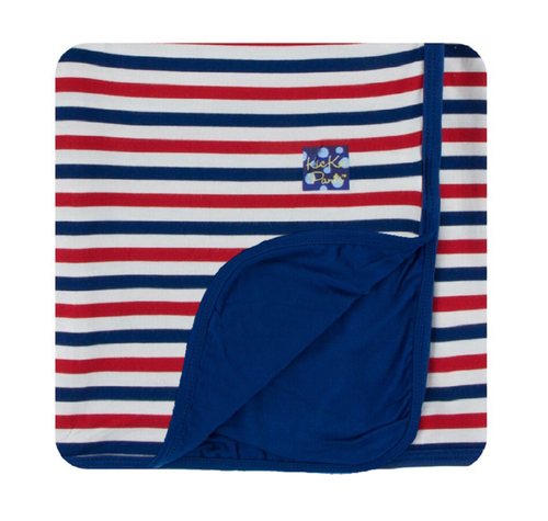 Kickee Pants Custom Print Toddler Blanket - USA Stripe with Flag Blue Trim & Backing