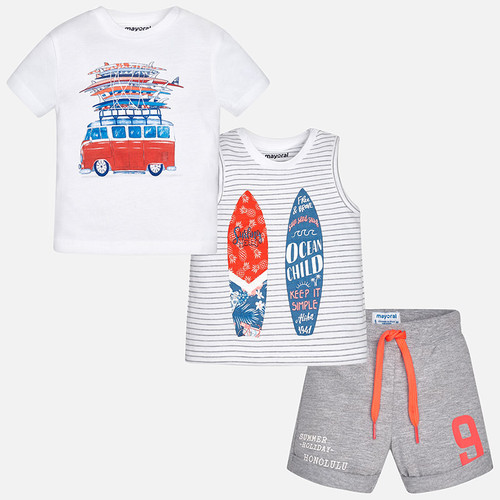 Mayoral Baby Boys Set with Two T-Shirts - Smoke