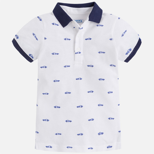 Mayoral Boy Patterned Polo Shirt - White