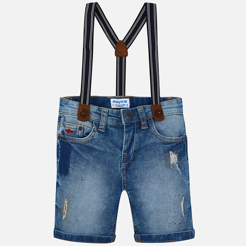 Mayoral Boys Bermuda Shorts with Suspenders - Denim