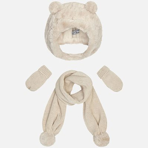 Mayoral Baby Girls Hat-Scarf-Mittens Set - Beige