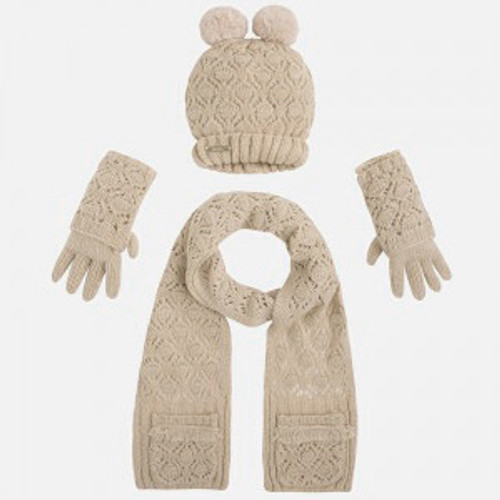 Mayoral Girls Beanie, Scarf, and Gloves Set - Beige