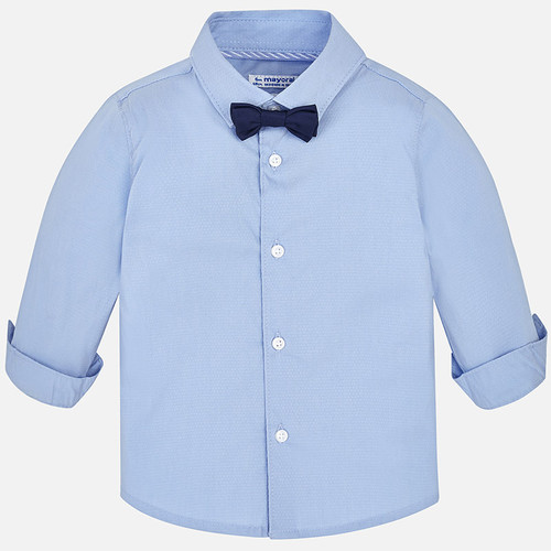 Mayoral Baby Boys Shirt with Bowtie - Sky Blue