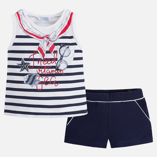 Mayoral Girls Nautical T-Shirt and Shorts Set - Navy