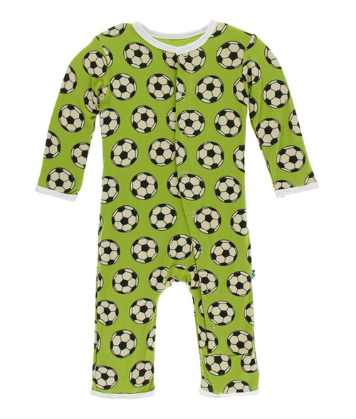 Kickee Pants Print Coverall with Snaps - Meadow Soccer