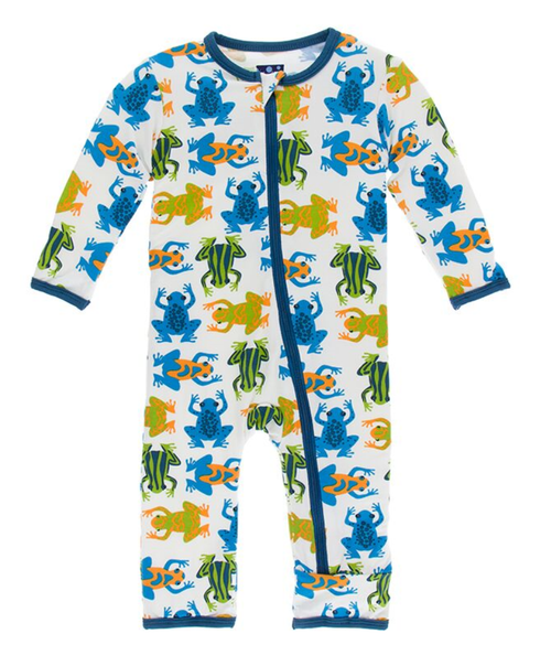 Kickee Pants Print Coverall with Zipper - Amazon Frogs