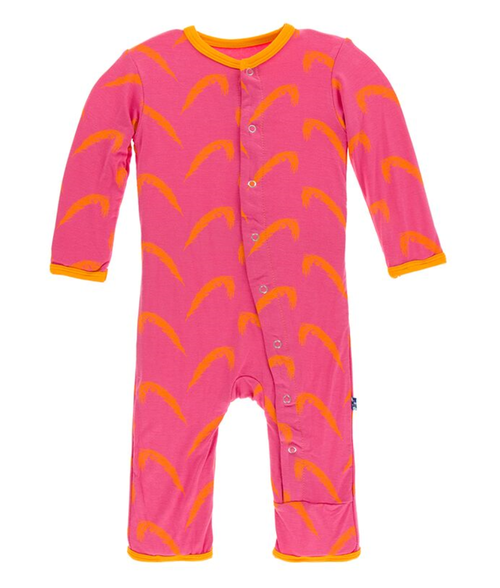 Kickee Pants Print Coverall with Snaps - Carnival Feathers