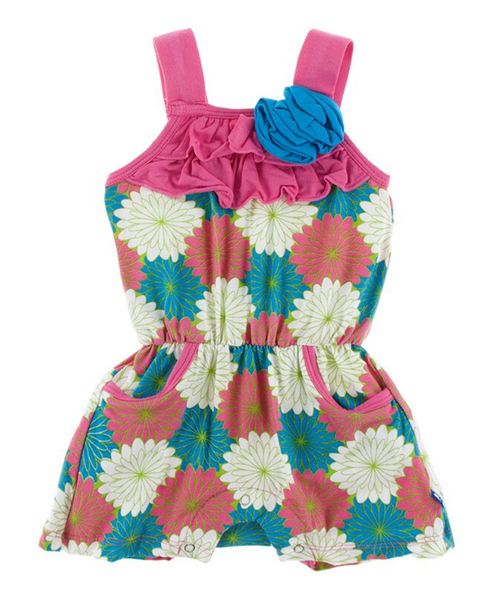 Kickee Pants Print Flower Romper with Pockets - Tropical Flowers