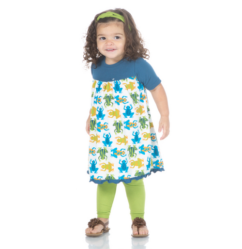 Kickee Pants Classic Short Sleeve Swing Dress - Amazon Frogs