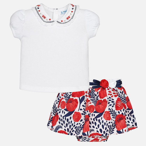 Mayoral Baby Girls Shirt and Skirt Set - Navy