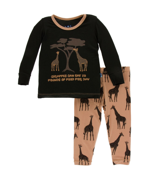 Kickee Pants Print Long Sleeve Pajama Set with Pants - Suede Giraffe