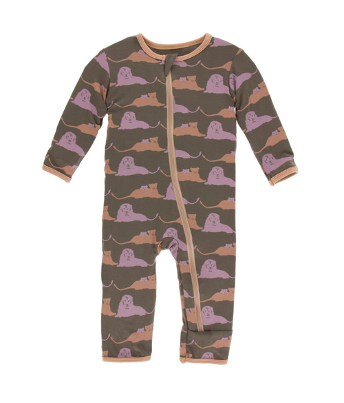 Kickee Pants Print Coverall with Zipper - Lions