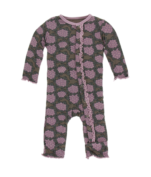 Kickee Pants Print Muffin Ruffle Coverall with Snaps - African Violets