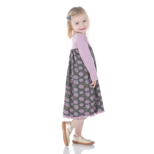 Kickee Pants Classic L/S Swing Dress - African Violets