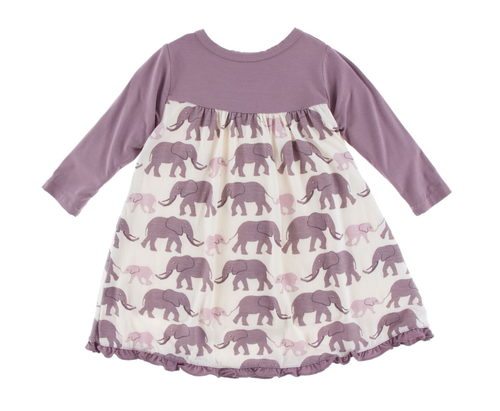 Kickee Pants Classic L/S Swing Dress - Natural Elephant