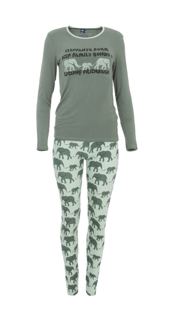 Kickee Pants Women's L/S Fitted Pajama Set - Aloe Elephant