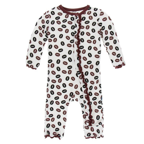 Kickee Pants Print Muffin Ruffle Coverall with Snaps - Natural Coffee Beans
