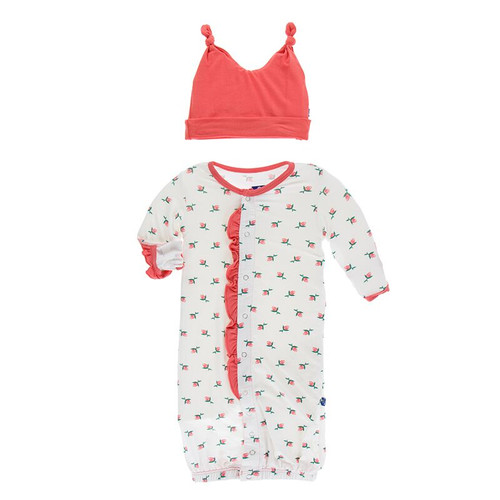 Kickee Pants Ruffle Layette Gown Converter & Double Knot Hat Set - Natural Rose Bud