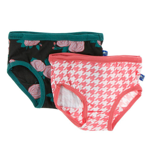 Kickee Pants Girl Underwear Set of 2 - English Rose Garden & English Rose Houndstooth
