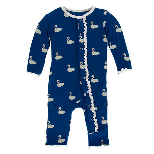 Kickee Pants Print Muffin Ruffle Coverall with Snaps - Navy Queen's Swans
