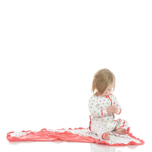 Kickee Pants Print Muffin Ruffle Coverall with Snaps - Natural Rose Bud