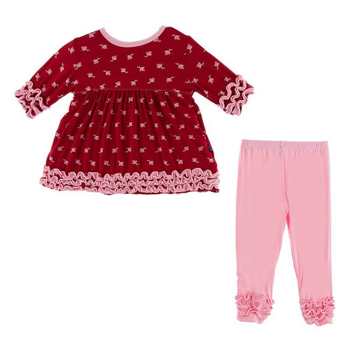 Kickee Pants Print  Babydoll Outfit Set - Candy Apple Rose Bud