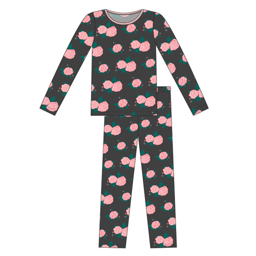Kickee Pants Women's L/S Fitted Pajama Set - English Rose Garden