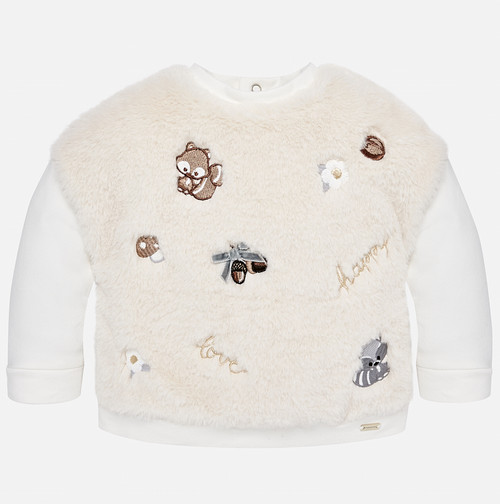 Mayoral Baby Girls Faux Fur Sweatshirt - Natural