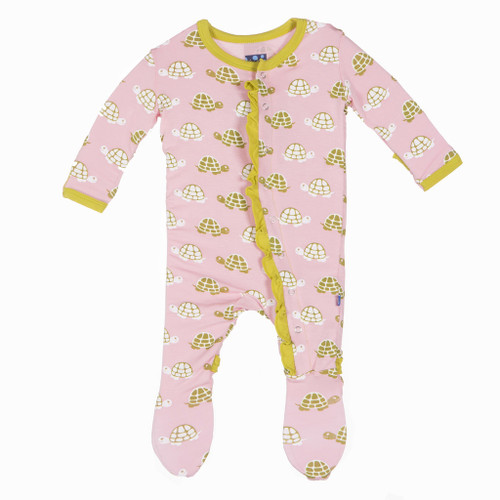 Kickee Pants Print Ruffle Footie - Lotus Turtle