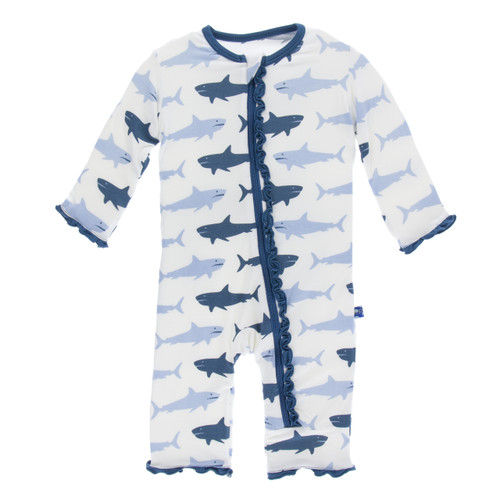 Kickee Pants Print Ruffle Coverall with Zipper - Natural Megalodon