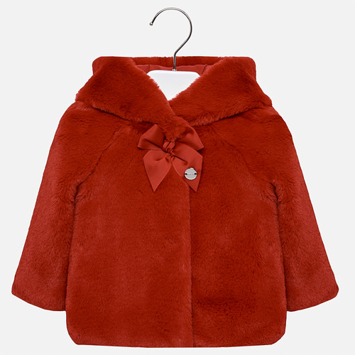 Mayoral Baby Girls Faux Fur Coat - Red