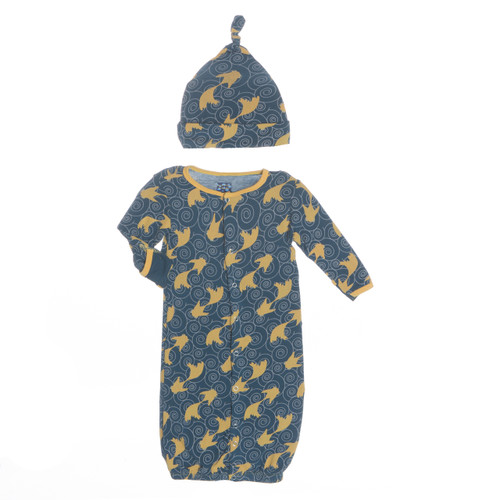Kickee Pants Layette Gown Converter & Knot Hat Set - Peacock Fish