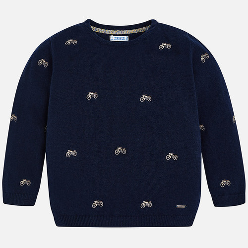 Mayoral Boys Embroidered Jumper - Navy