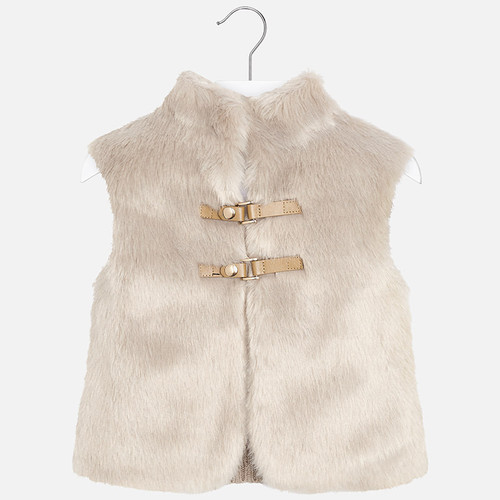 Mayoral Girls Faux Fur Vest - Stone