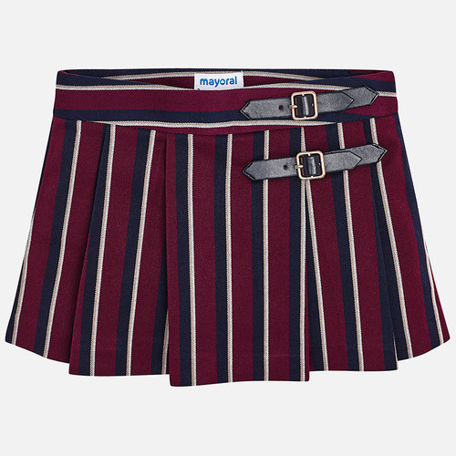 Mayoral Girls Striped Skirt - Raspberry