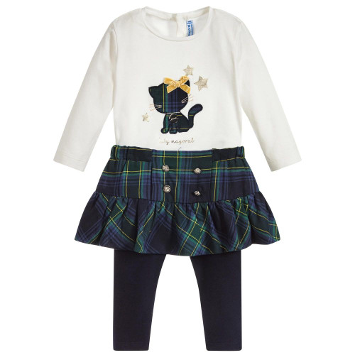Mayoral Girls Leggings Skirt Set - Navy