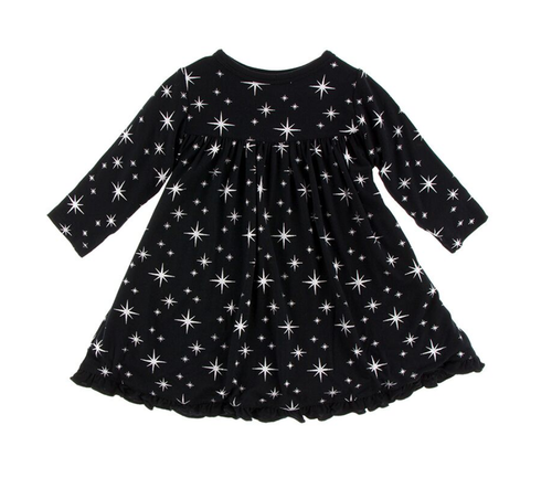 Kickee Pants Classic L/S Swing Dress - Silver Bright Stars