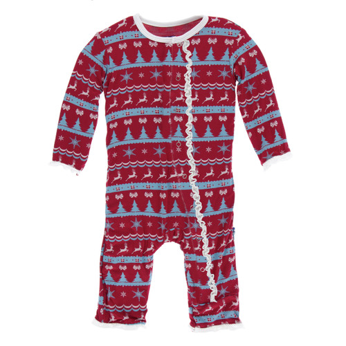 Kickee Pants Print Muffin Ruffle Coverall with Snaps - Nordic Print