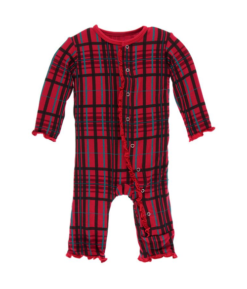 Kickee Pants Print Layette Classic Ruffle Coverall with Snaps - Christmas Plaid