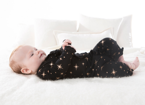 Kickee Pants Print Layette Classic Ruffle Coverall with Snaps - Rose Gold Bright Stars