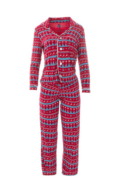 Kickee Pants Print Women's Collared Pajama Set - Nordic Print