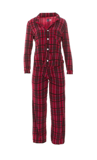 Kickee Pants Print Women's Collared Pajama Set - Christmas Plaid